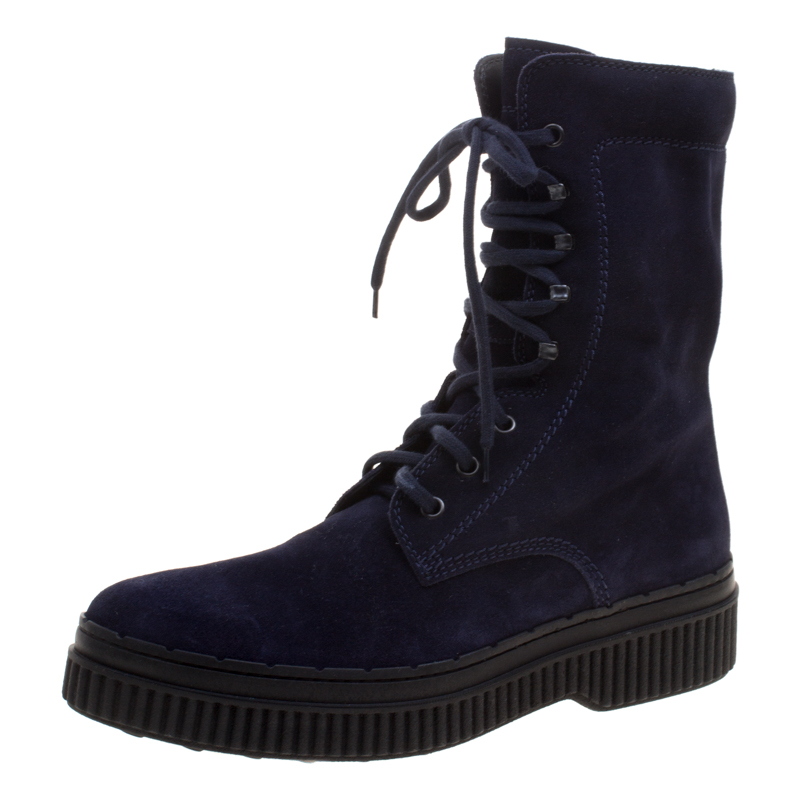 113e27457443 Buy Tods Navy Blue Suede Lace Up Ankle Boots Size 41 115310 at best ...
