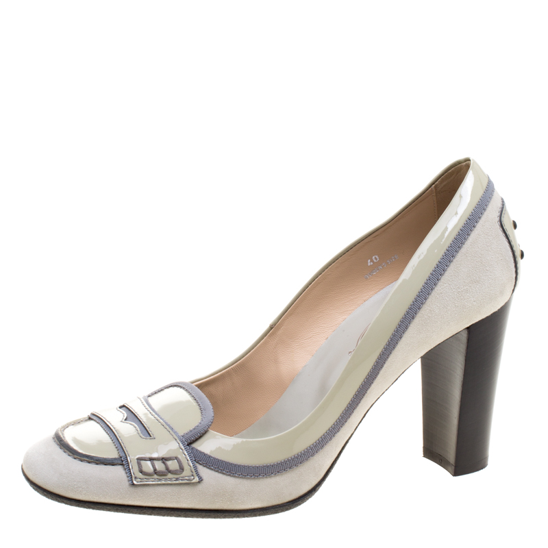 bf7570e22ba Buy Tod s Grey Patent Leather and Suede Penny Loafer Pumps Size 40 ...
