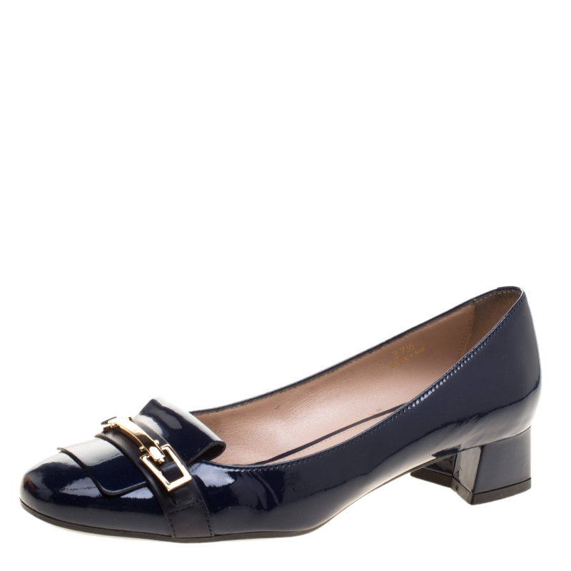 f248462cf582 Buy Tod s Navy Blue Patent Leather Block Heel Pumps Size 37.5 129137 ...