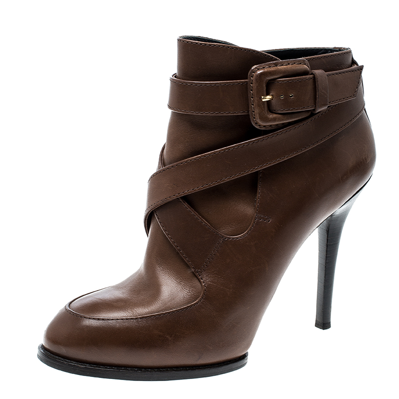 fed8b297845 Tod's Brown Leather Cross Strap Ankle Boots Size 36.5