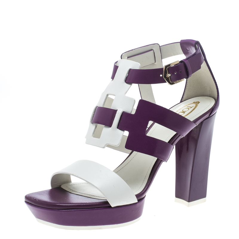 Купить со скидкой Tod's Purple and White Leather Cutout Platform Sandals Size 40
