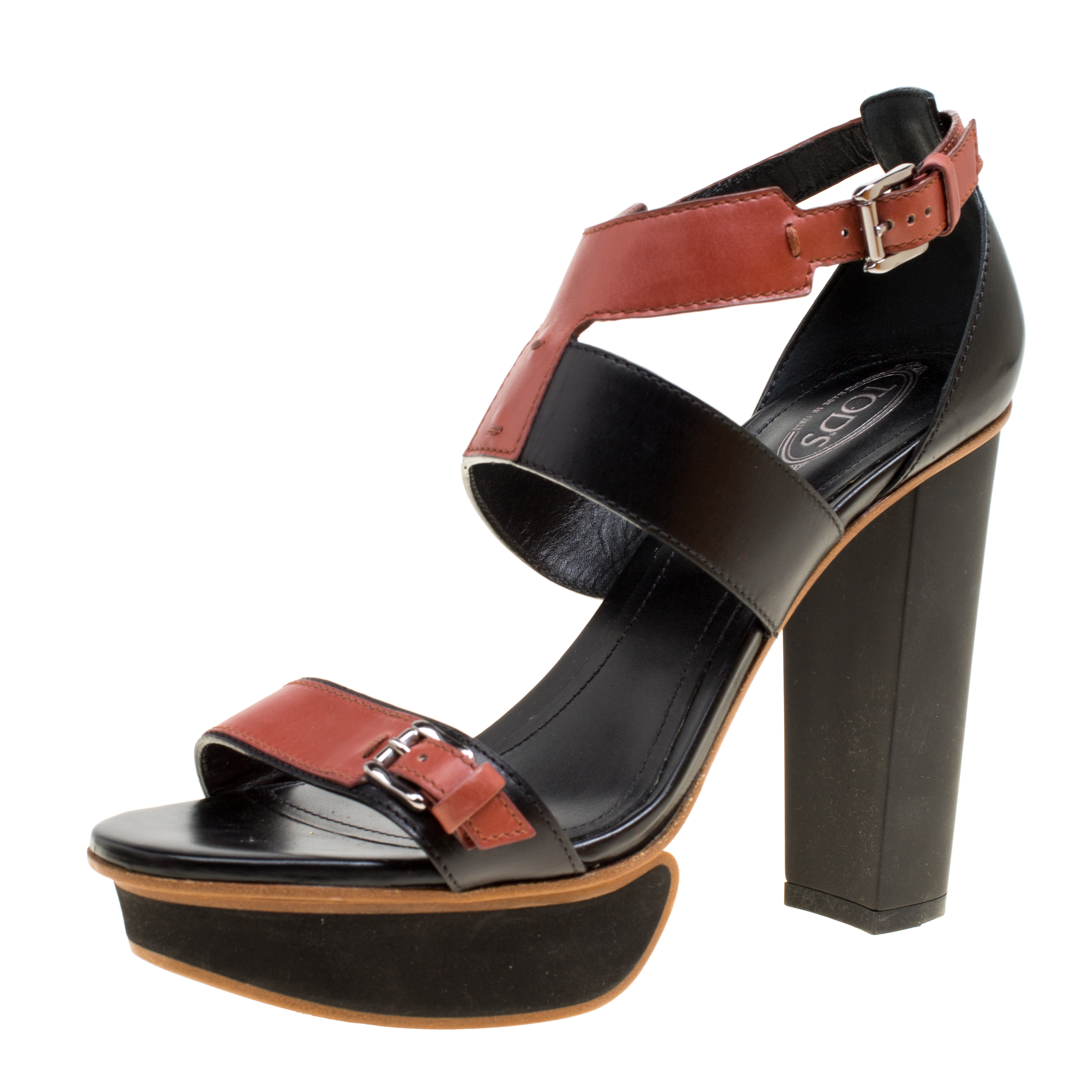 Купить со скидкой Tod's Black and Brown Leather Ankle Strap Platform Sandals Size 38