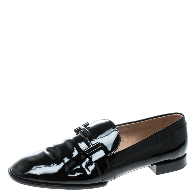 5e221053e5b ... Tod s Black Patent Leather Double T Loafers Size 42. nextprev. prevnext