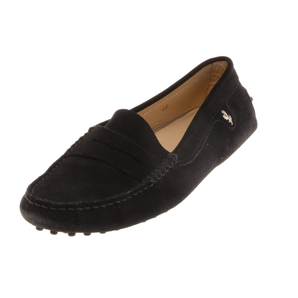 a95e5f36b43 Buy Tod s for Ferrari Black Suede Loafers Size 40 17233 at best ...