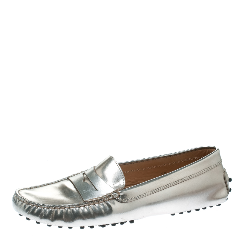 Tod's Metallic Leather Penny Loafers Size 39