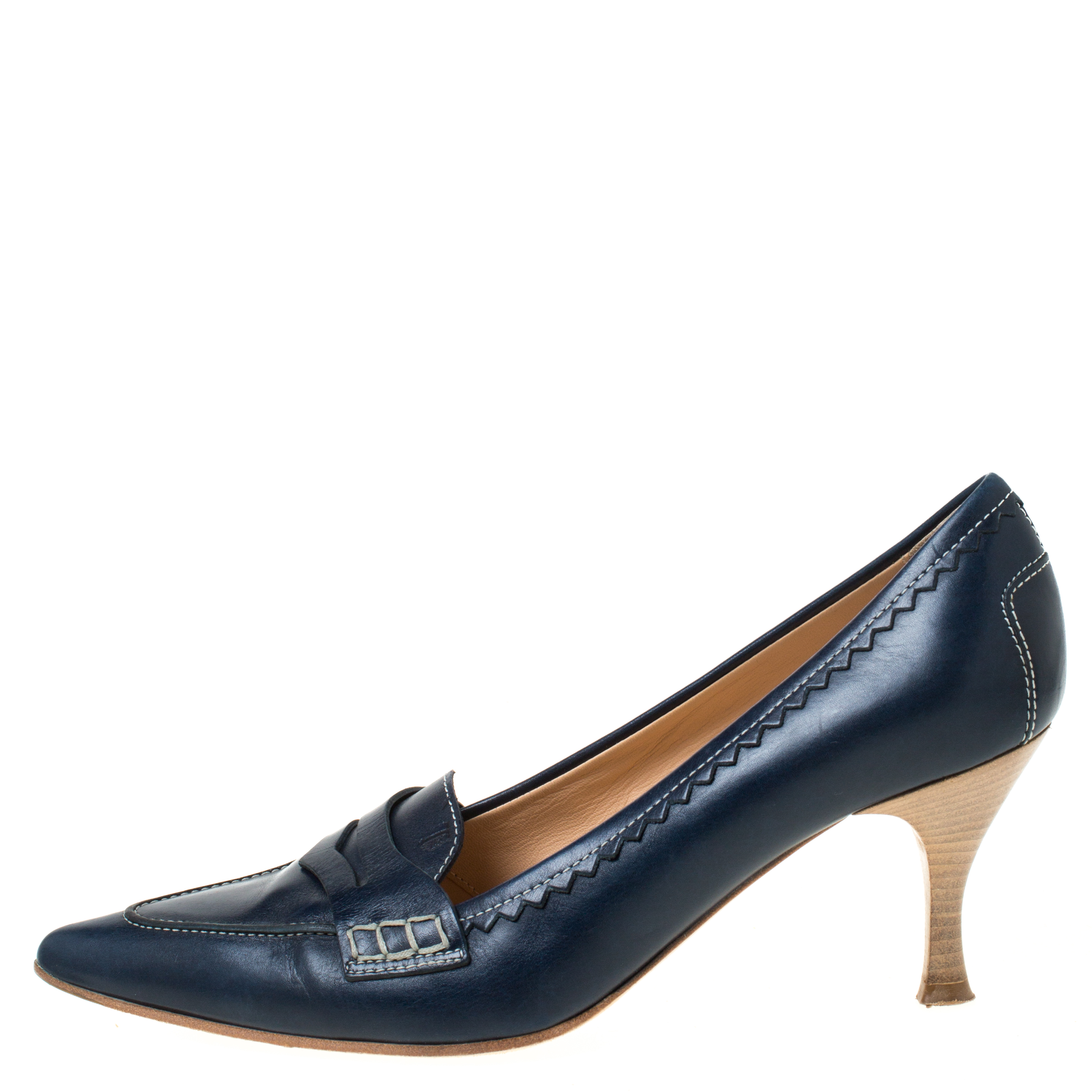 shades of half price on wholesale Tod's Navy Blue Leather Penny Loafer Pointed Toe Pumps Size 39