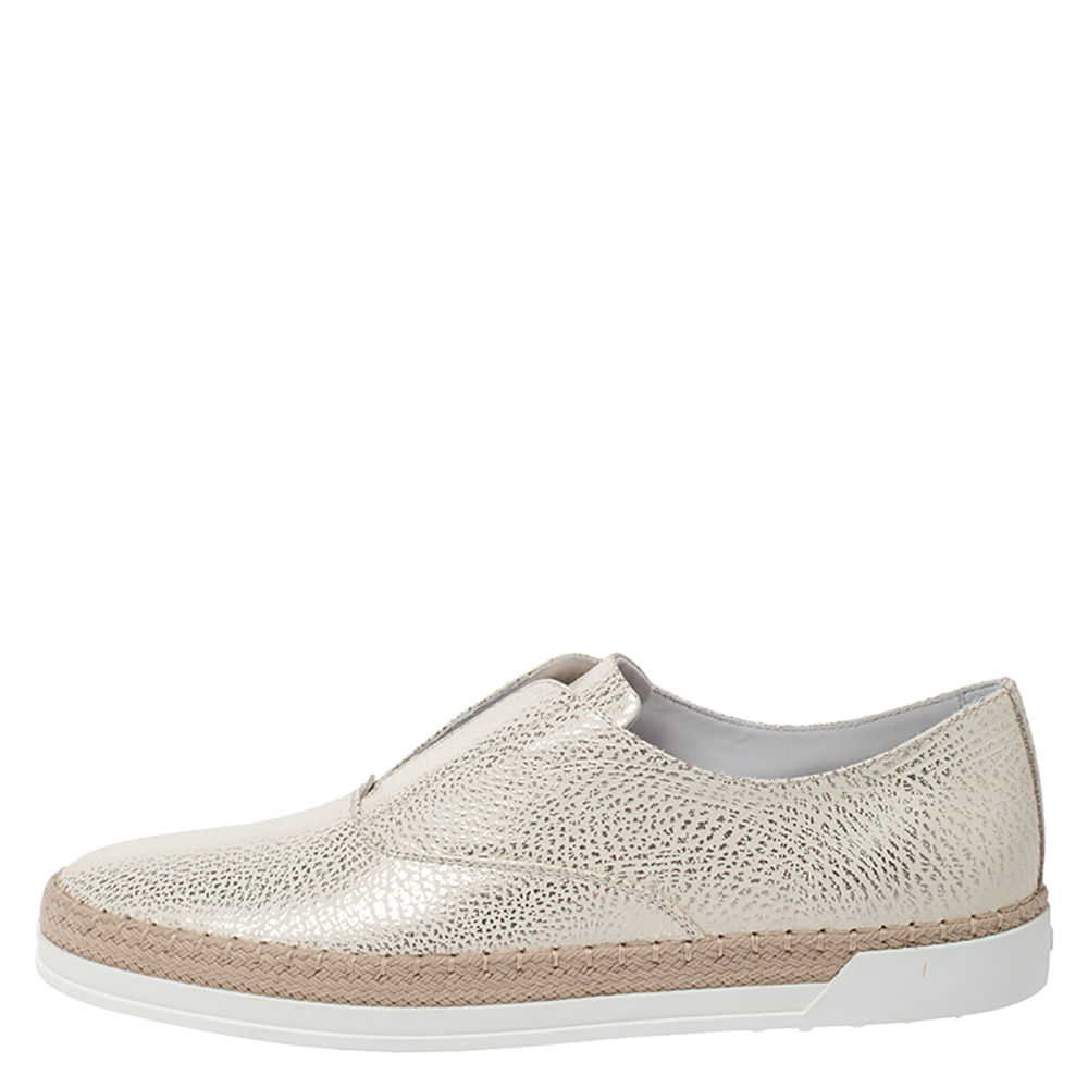 Tod's Gold/White Textured Leather Francesina Espadrille Slip On Sneakers Size 38.5, Tod's  - buy with discount