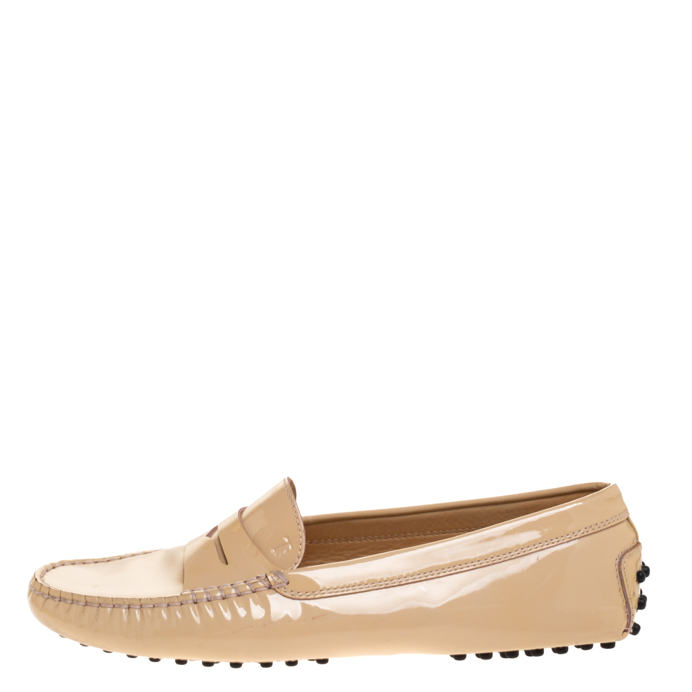 Tod's Beige Patent Leather Penny Loafers Size 38.5, Tod's  - buy with discount