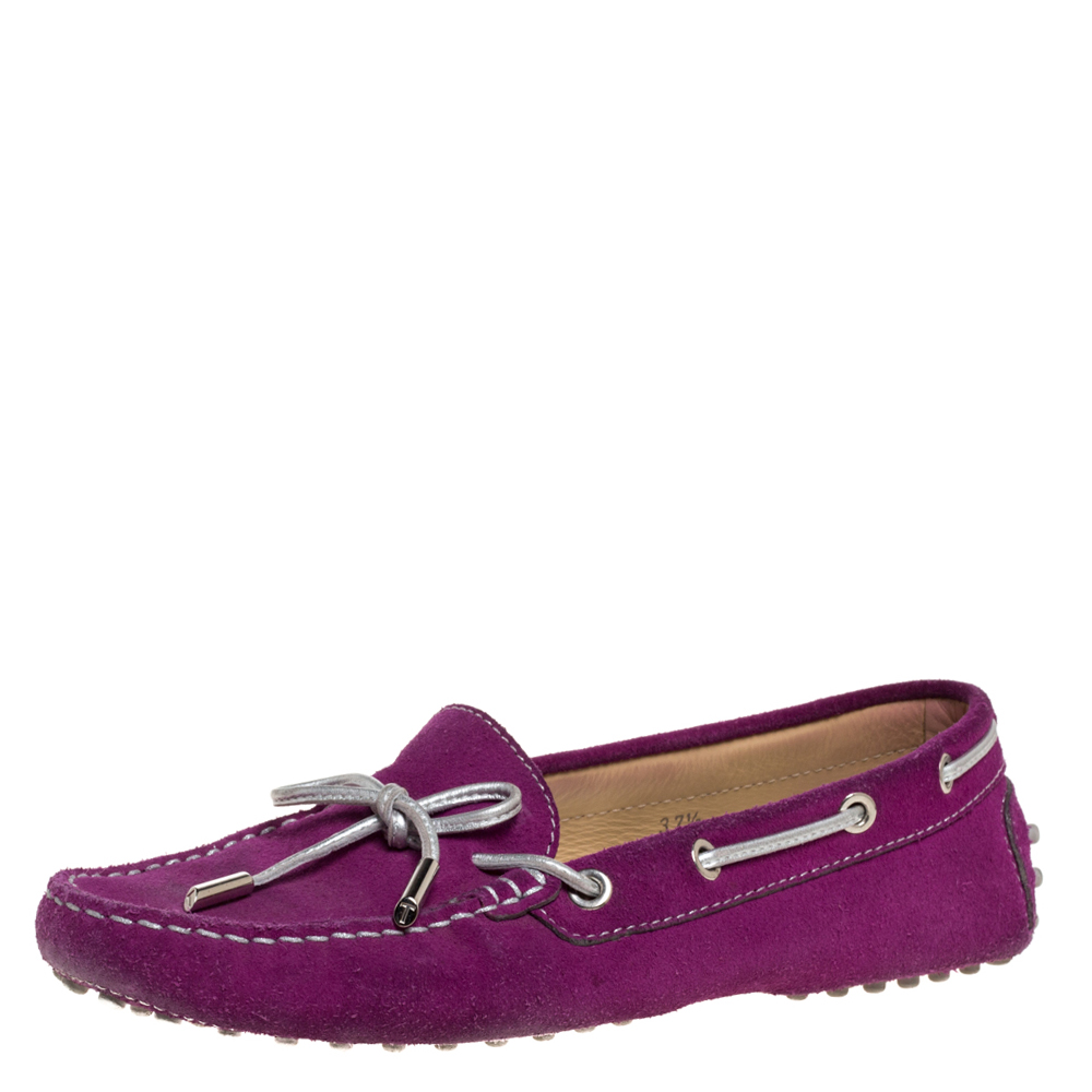Pre-owned Tod's Fuschia Pink Suede Leather Bow Slip On Loafers Size 37.5