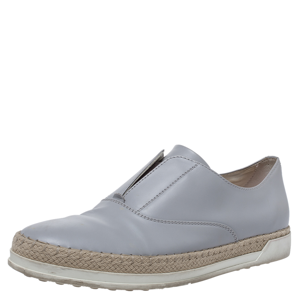 Pre-owned Tod's Grey Leather Francesina Espadrille Slip On Sneakers Size 37