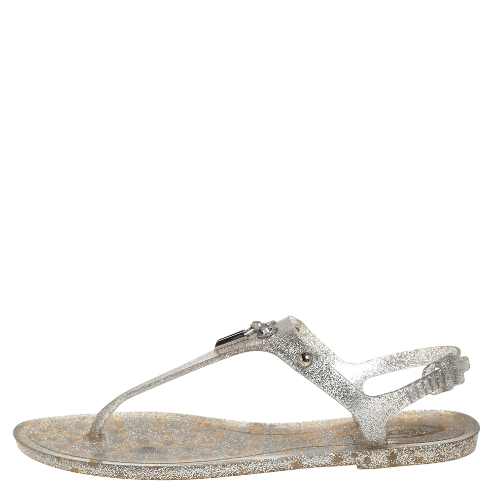 Tod's Silver Jelly Tassel Detail Thong Flat Sandals Size 39
