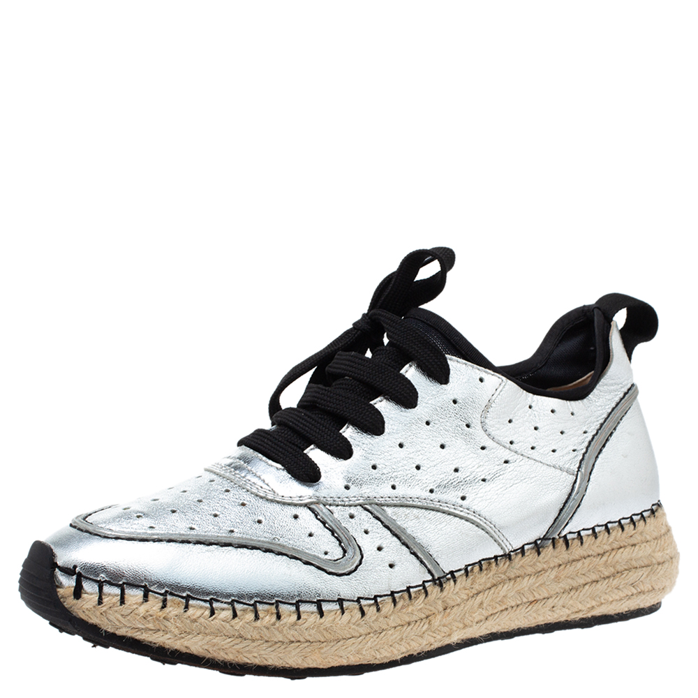 Pre-owned Tod's Metallic Silver Perforated Leather Espadrille Low Top Sneakers Size 39
