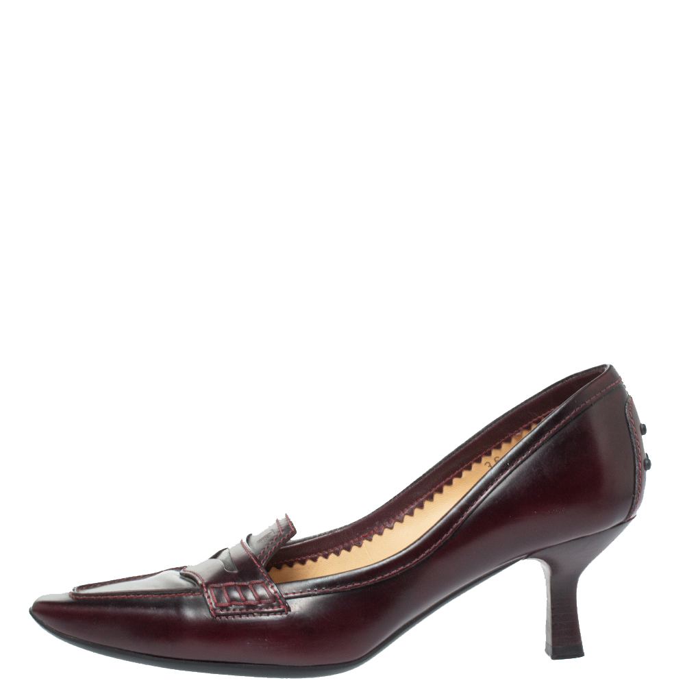 Tod's Burgundy Leather Pointed Toe Penny Loafer Pumps Size 36, Tod's  - buy with discount