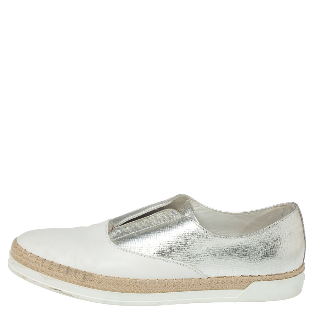 Tod's Metallic Silver and White Leather Francesina Espadrille Slip On Sneakers Size 39, Tod's  - buy with discount