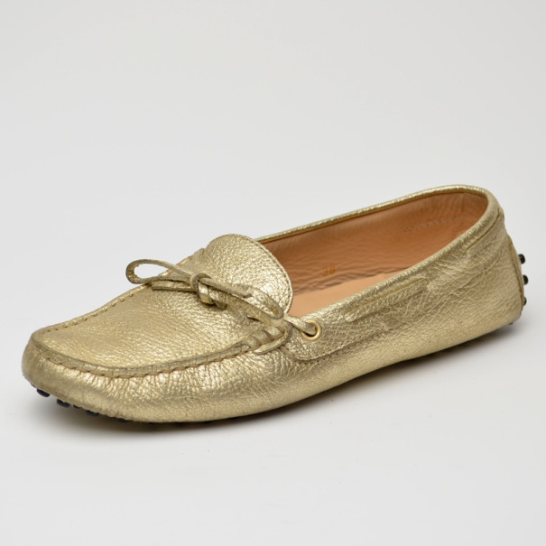 03ae9d29712 Buy Tod s Gold Metallic Driving Loafers Size 38 35987 at best price ...