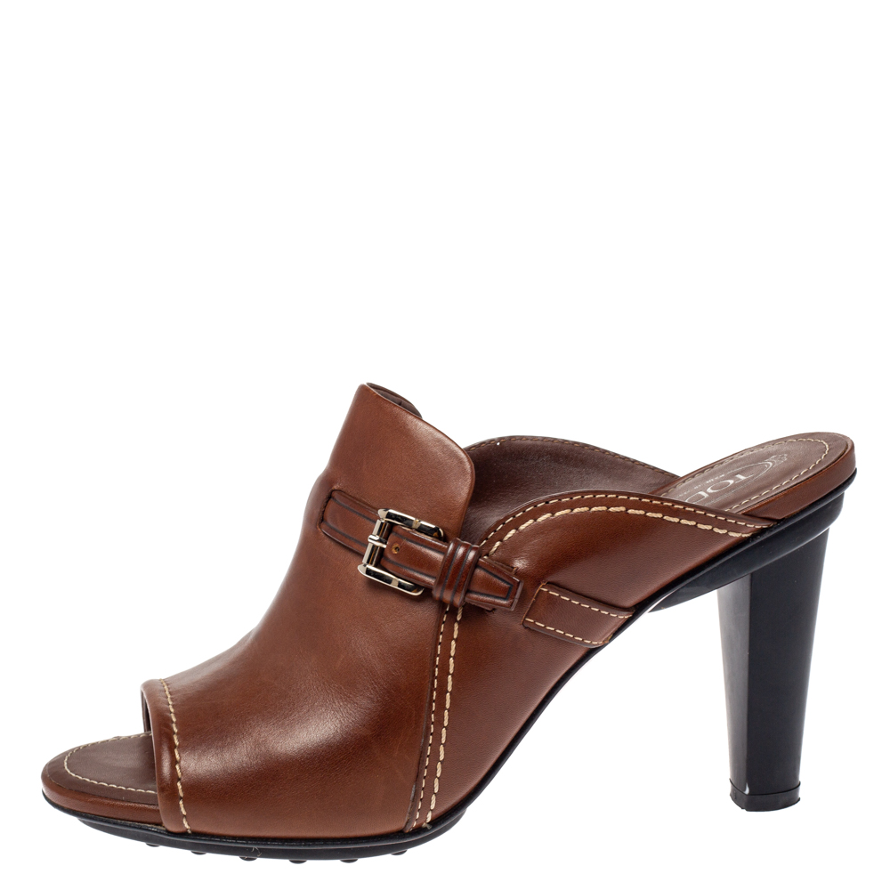 Tod's Brown Leather Open Toe Buckle Detail Mule Sandals Size 39