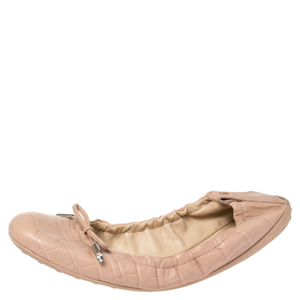 Pre-owned Tod's Beige Croc Embossed Leather Ballet Flats Size 38