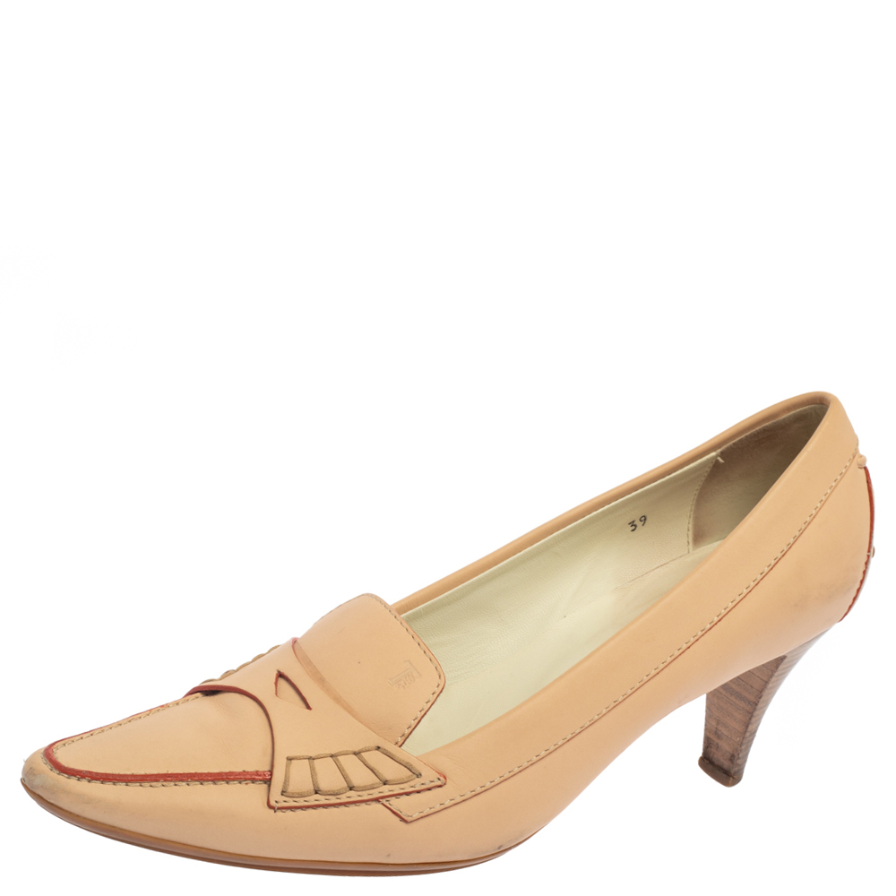 Pre-owned Tod's Beige Leather Loafer Pumps Size 39