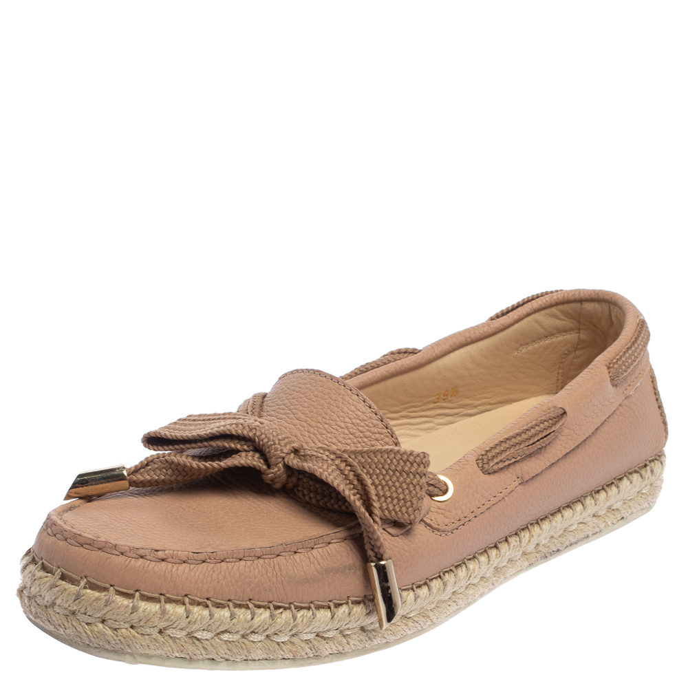 Pre-owned Tod's Pink Leather Gommino Espadrille Flats Size 39.5
