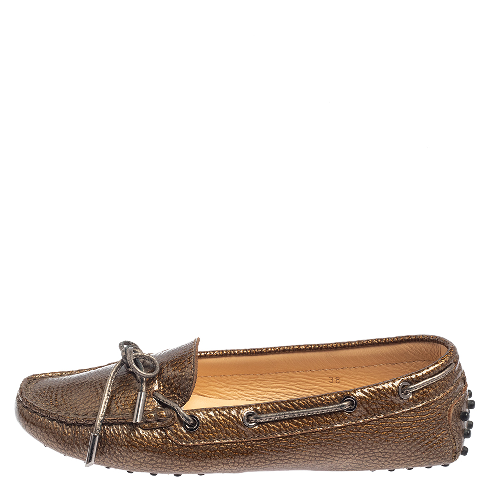 Tod's Metallic Bronze Patent Textured Leather Gommino Driving Loafers Size 38