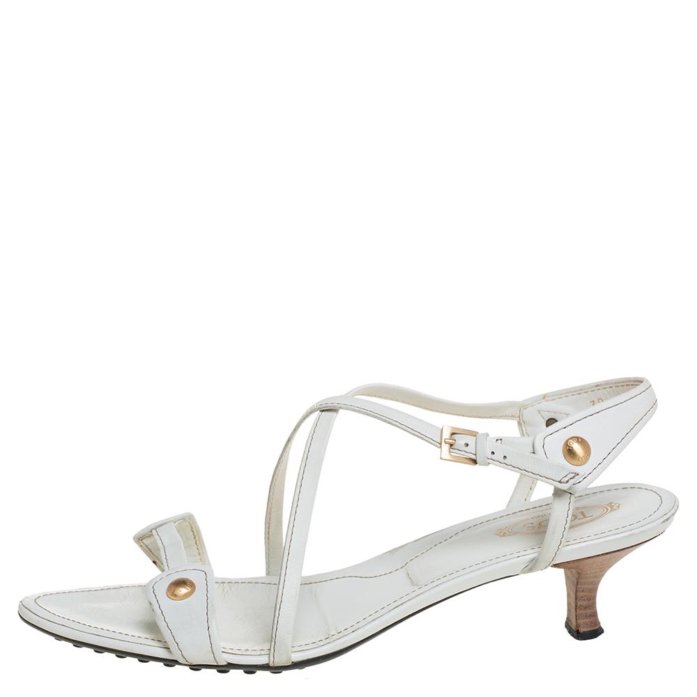 Tod's White Leather Crisscross Slingback Sandals Size 39