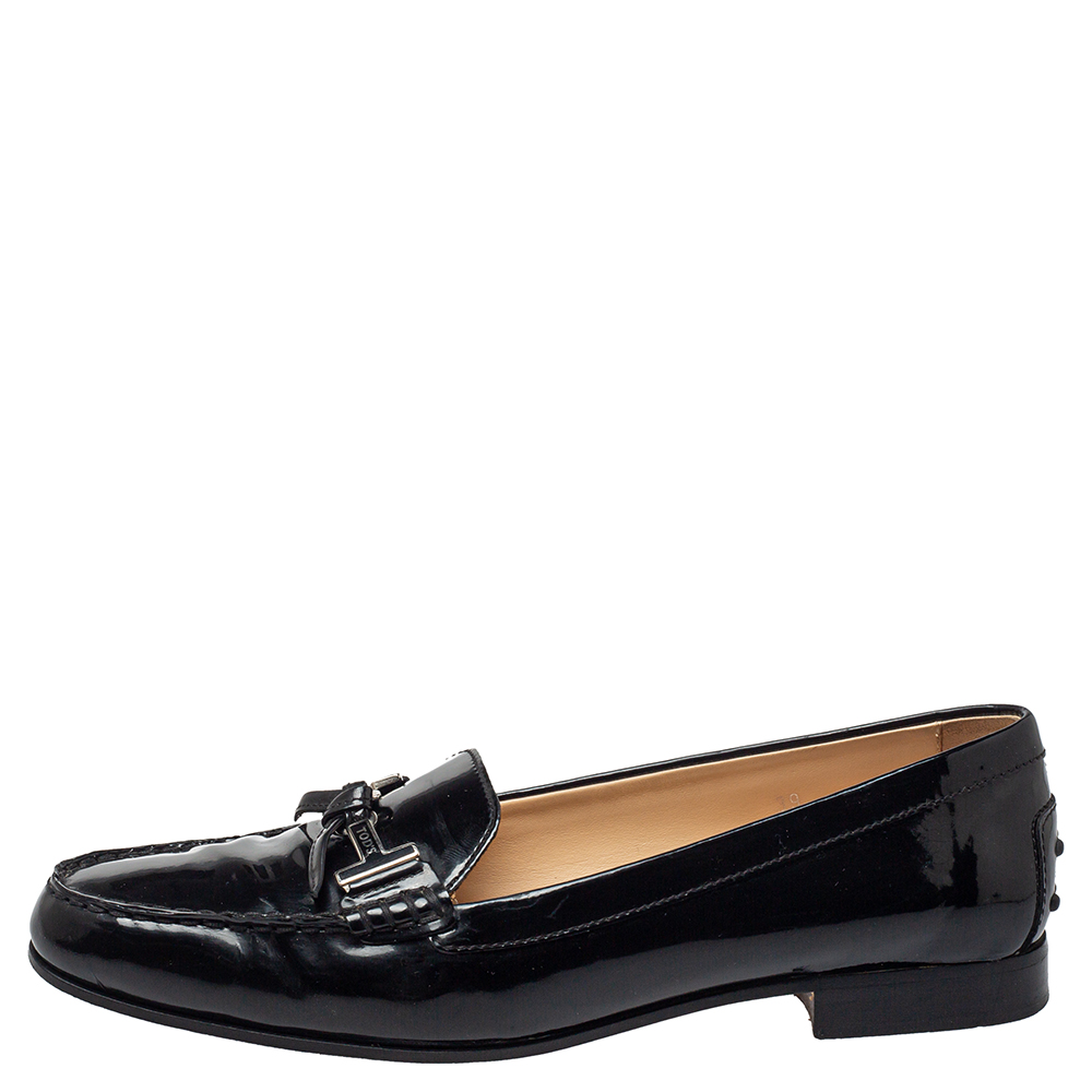Tod's Black Patent Leather Double T Slip On Loafers Size 39