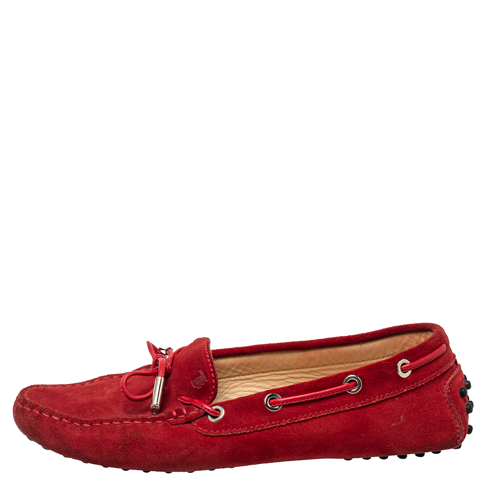 Tod's Red Suede Slip On Loafers Size 37
