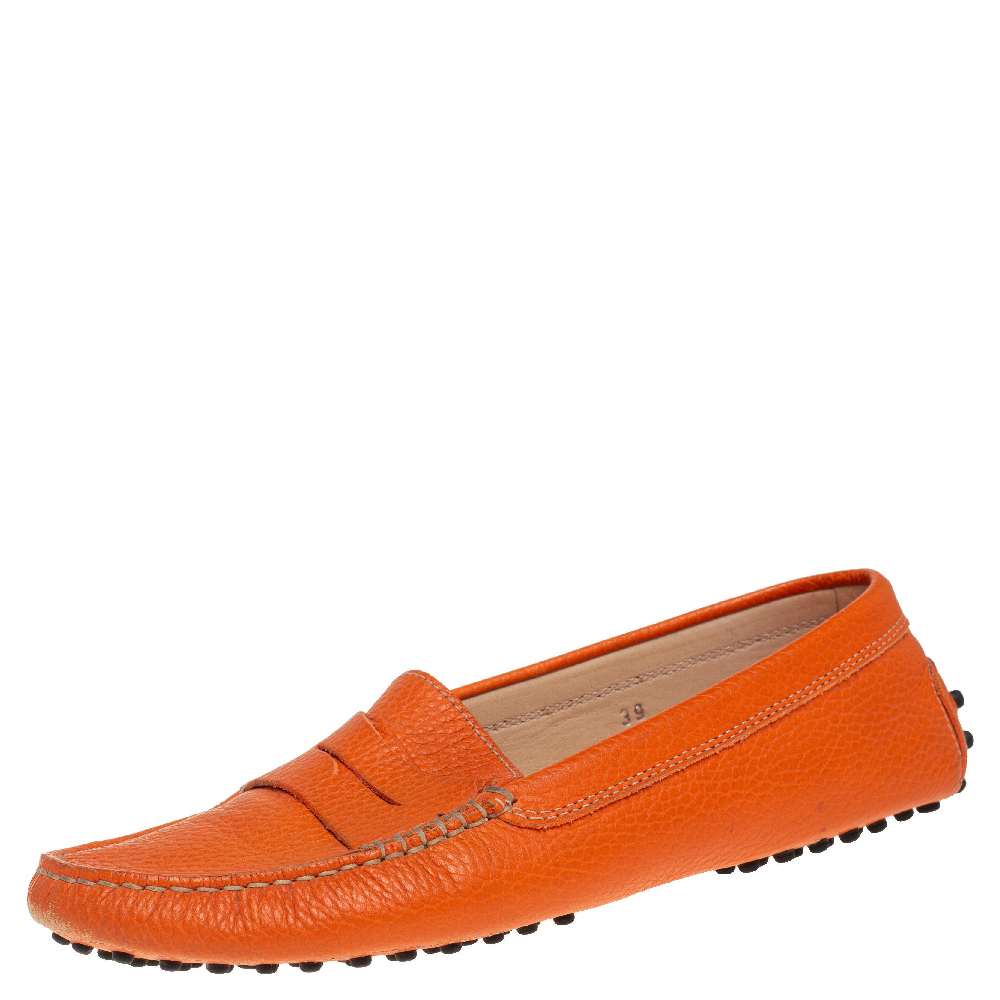 Pre-owned Tod's Orange Leather Penny Loafers Size 39