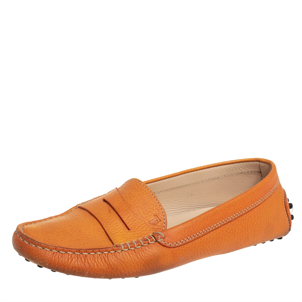 Pre-owned Tod's Orange Leather Penny Slip On Loafers Size 39