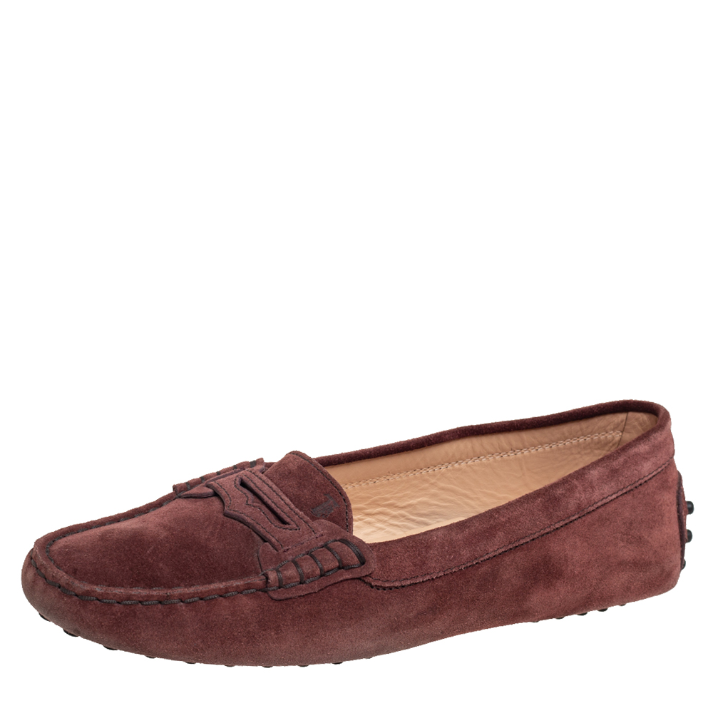 Pre-owned Tod's Burgundy Suede Penny Slip On Loafers Size 39