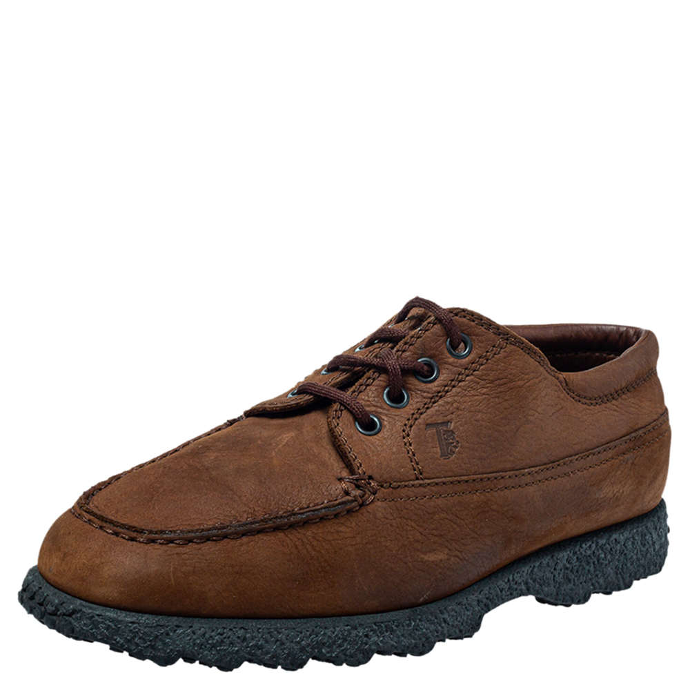 Pre-owned Tod's Brown Leather Lace Up Oxford Size 41