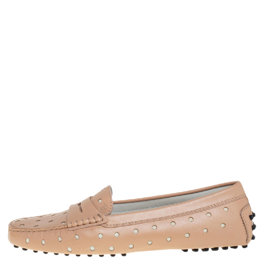 Tod's Beige Hole Laser Cut Leather Penny Loafers Size 39