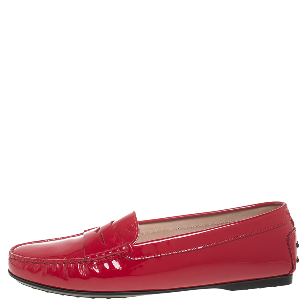 Tod's Red Patent Leather Slip On Loafers Size 41