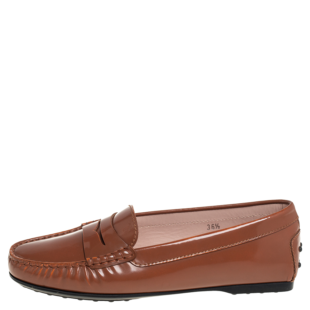 Tod's Brown Patent Leather Gomma Loafers Size 36.5