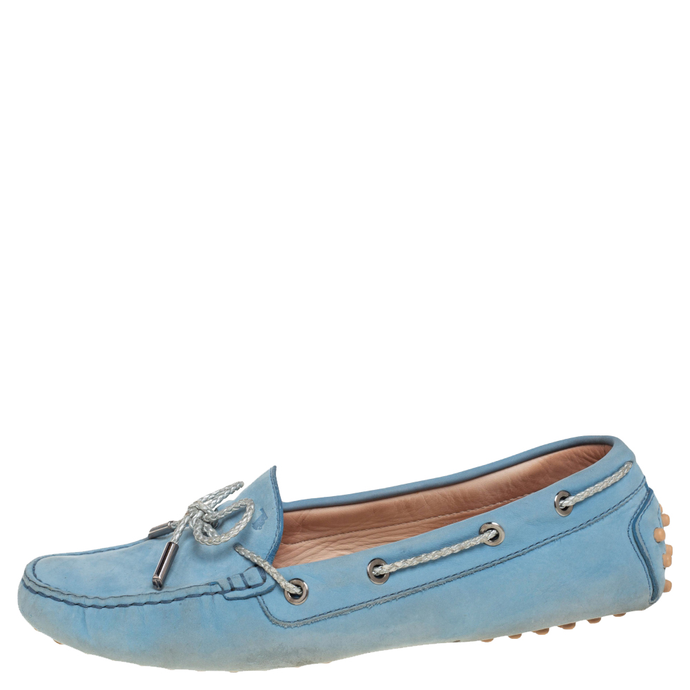 Tod's Blue Nubuck Leather Slip On Cord Bow Loafers  Size 39