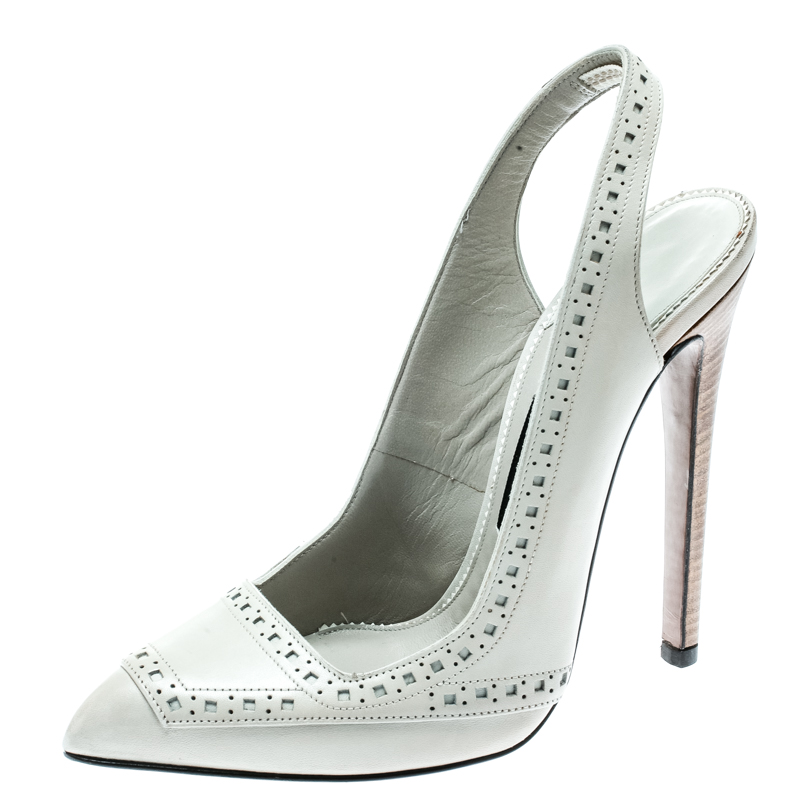 dd1910b253 ... Tom Ford Light Grey Leather Pointed Toe Slingback Sandals Size 37.5.  nextprev. prevnext