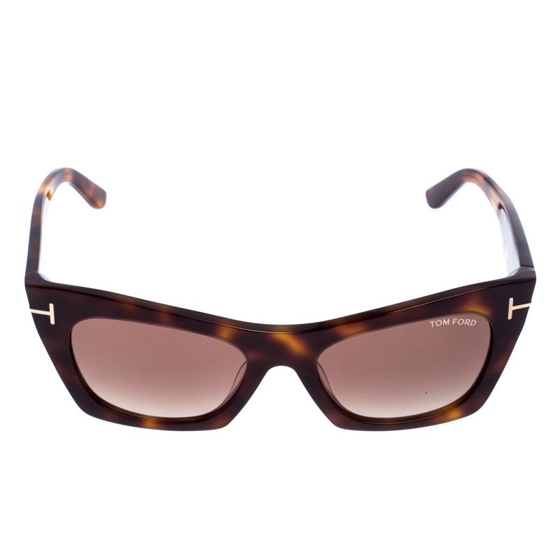 Tom Ford Light Brown Tortoise Kasia Cat Eye Lunettes De Soleil
