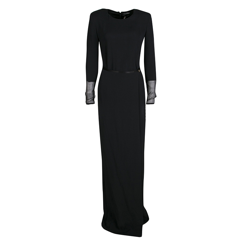 a1571743259 Buy Tom Ford Black Silk Wrap Front Long Sleeve Maxi Dress S 138345 ...