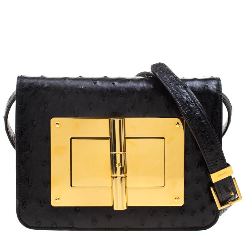 df2ade3f22e Buy Tom Ford Black Ostrich Leather Small Natalia Crossbody Bag ...