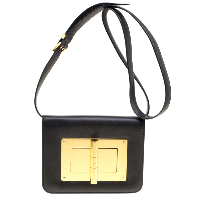 run shoes rich and magnificent new & pre-owned designer Tom Ford Black Leather Small Natalia Crossbody Bag