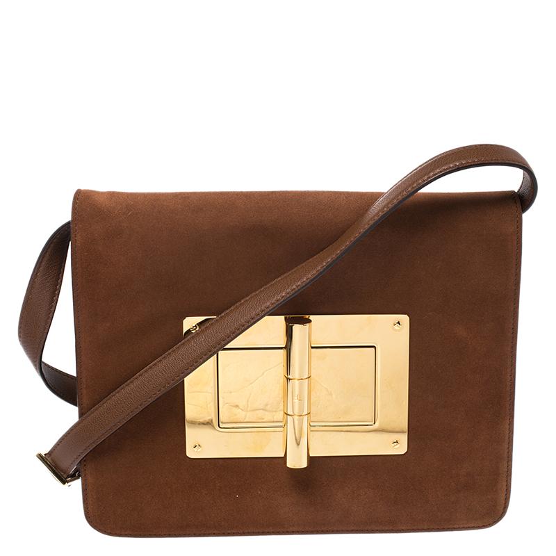 Tom Ford Tan Suede And Leather Medium Natalia Shoulder Bag
