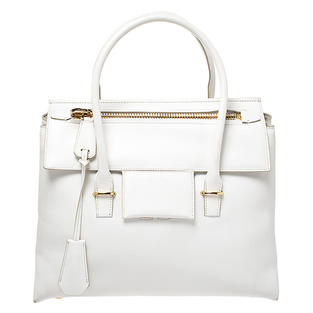 Tom White Leather Large Tf Icon Satchel Tom Ford Tlc