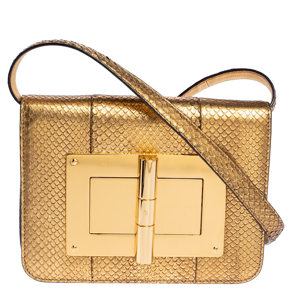Pre-owned Tom Ford Metallic Gold Python Small Natalia Crossbody Bag