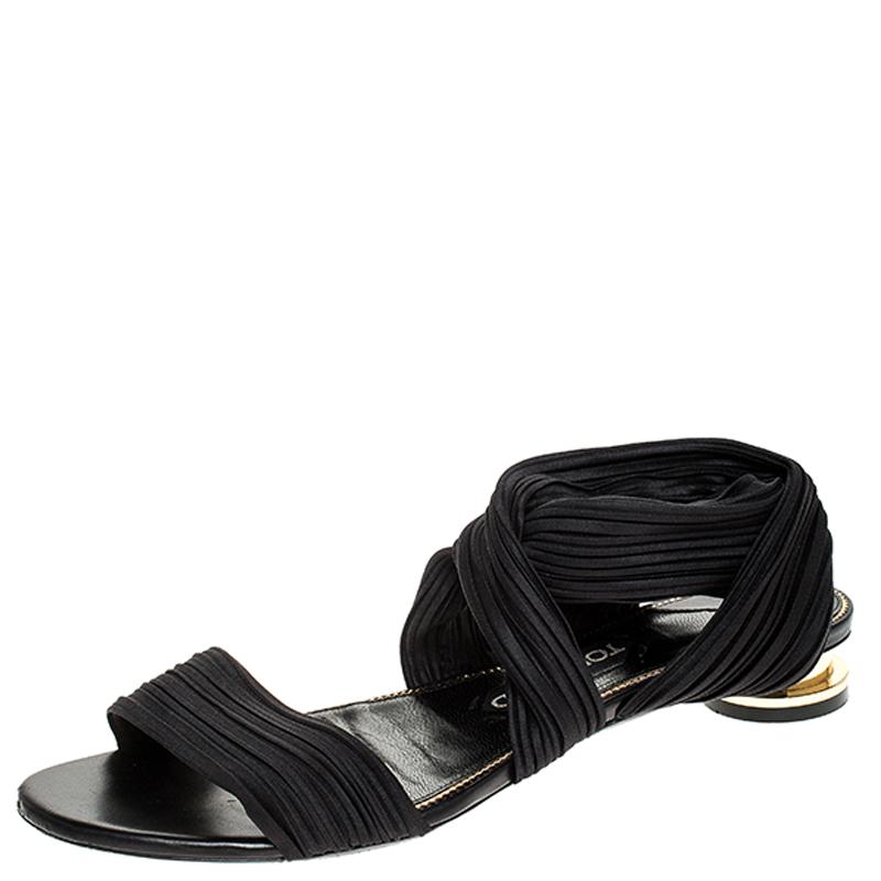 Tom Ford Black Plisse Satin Open Toe Flat Sandals Size 39