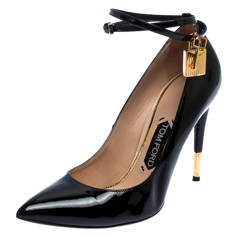 Tom Ford Black Patent Leather Padlock Ankle Wrap Pointed Toe Pumps Size 39