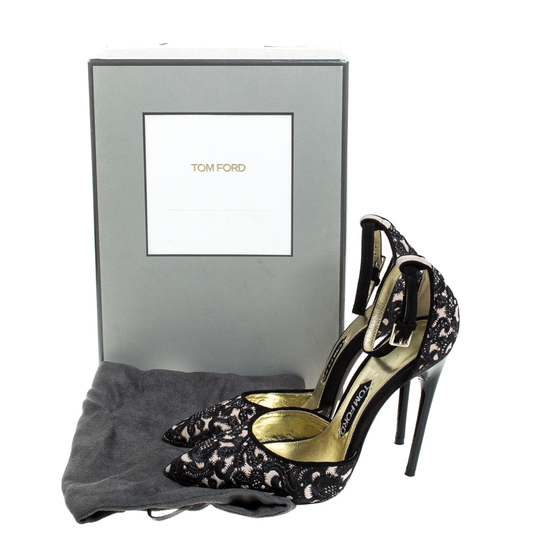 Tom Ford Beige/Black Embroidered Suede D'Orsay Pointed Toe Ankle Strap Pumps Size 38