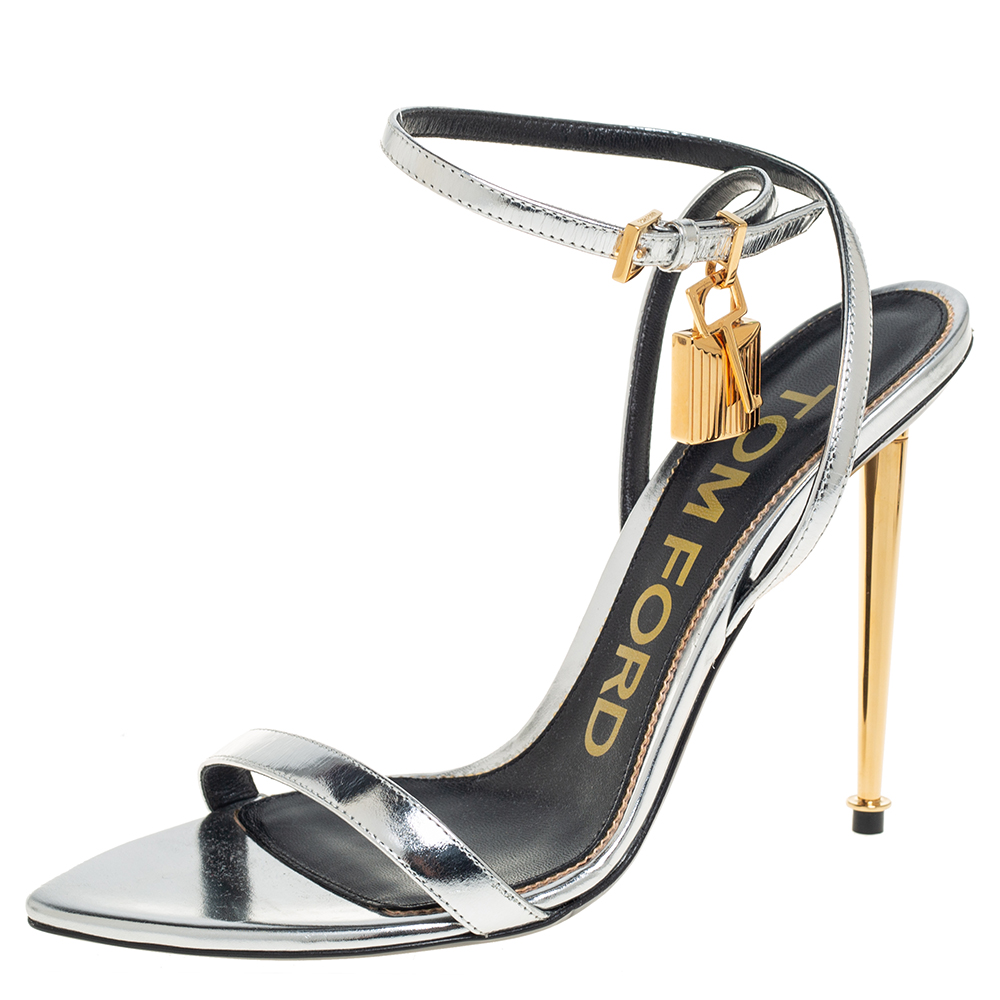 Pre-owned Tom Ford Silver Leather Lock Ankle Strap Sandals Size 38