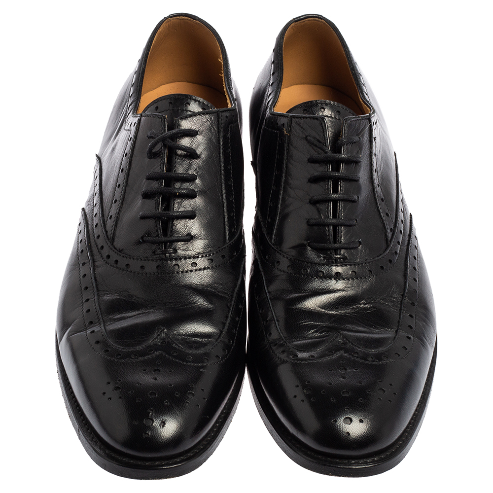 Tom Ford Black  Leather Lace Up  Brogues Oxford Size 40