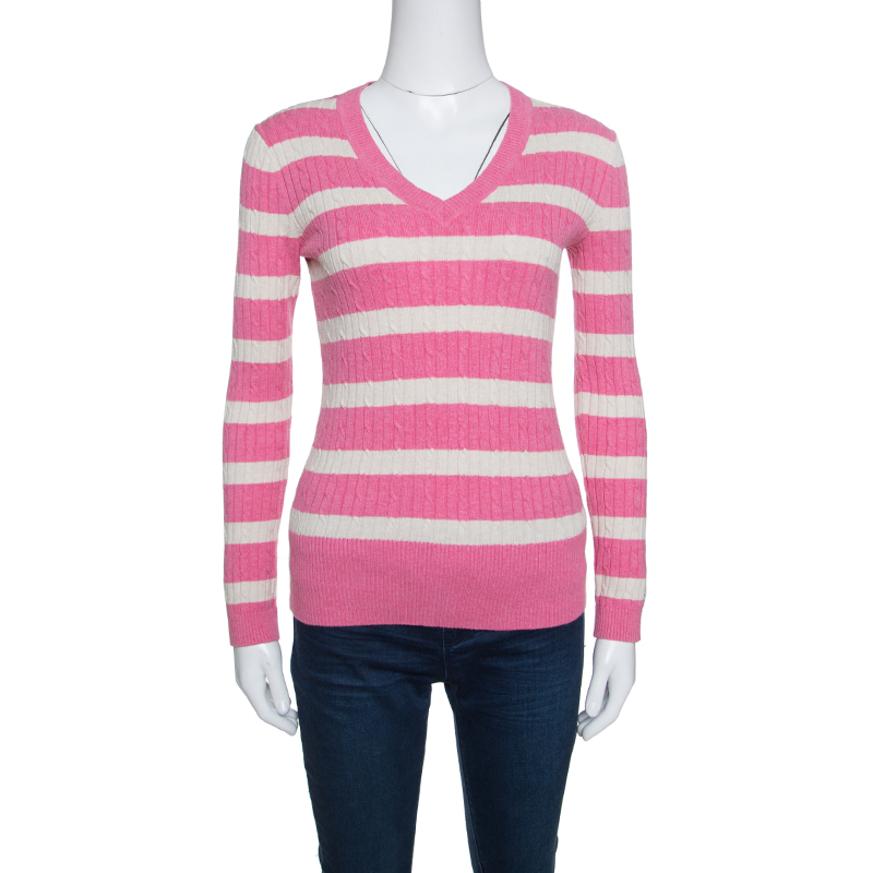 Efterstræbte Buy Tommy Hilfiger Pink and Cream Striped Cable Knit V-Neck DS-41