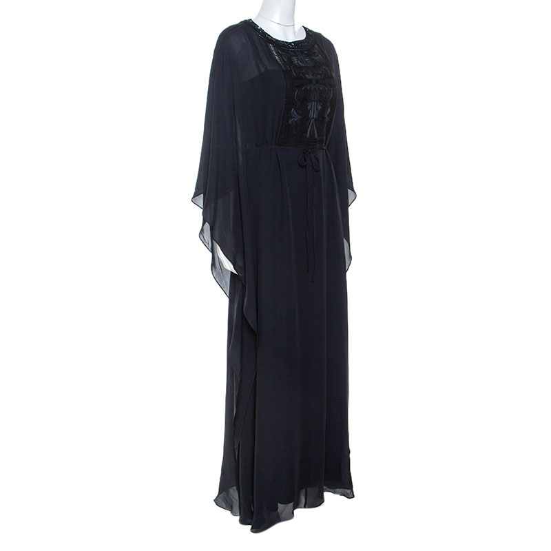 Tory Burch Navy Blue Silk Embroidered Detail Kaftan S  - buy with discount